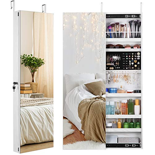 LANGRIA Jewelry Cabinet with Frameless Full-Length Mirror and Unique Sliding Door Features Lockable Wall-Mounted Over-The-Door Design for Safe Storage of Jewelry, Accessories, and Makeup
