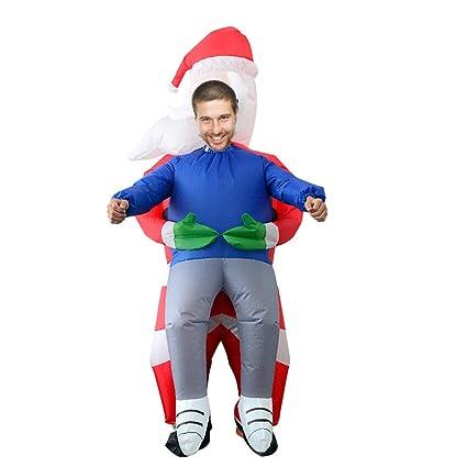 HKFV - Disfraz de Papá Noel hinchable para adulto, poliéster ...