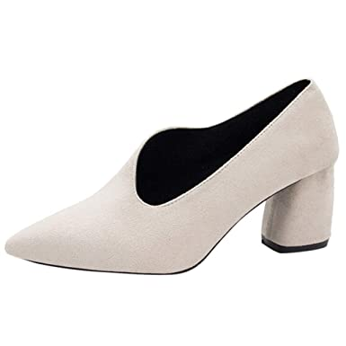 60a15ce764c DENER❤ Women Ladies Girls Business Shoes with Chunky Heels, Flock ...