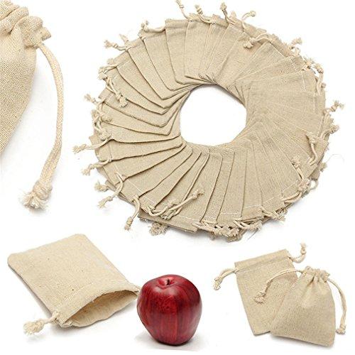 30Pcs Small Linen Bags Pouch Jute Sack Gift Bags Drawstring