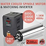 XeeStore 1.5KW Water Cooled Spindle Motor + 1.5KW VFD Variable Frequency Drive Inverter Engraving Milling (1.5KW VFD + 1.5KW Water Cooled Spindle Motor)