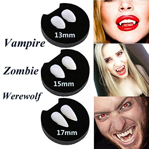NChance Halloween Vampire Fangs Zombie Teeth Dentures Party Cosplay Horror Haunted Costume Props Creepy Devil Decorations Supplies with 1 pcs Extra Tattoo Sticker (15mm)