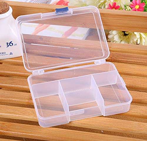 Tuscom 5 Cells Adjustable Plastic Clear Storage Box,for Jewelry Earing Craft Nail Organizer Bead,14 x 10 x 3 cm(4 Colors) (White)