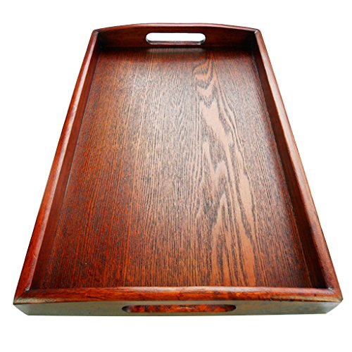 B Blesiya Japanese Wood Serving Tray SPA Tea Food Dinner Brown Dish Fruit Plate - E 30x20x3.5cm by B Blesiya