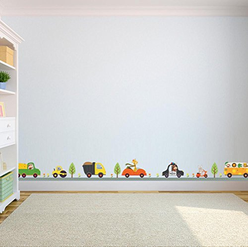 BIBITIME Animal Forest Traffic Wall Decals Nursery, used for sale  Delivered anywhere in USA