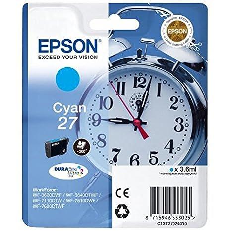 Epson Original T2705 Tintenpatrone Wecker, wisch- und wasserfeste Tinte (Multipack 3-farbig) (CYM)