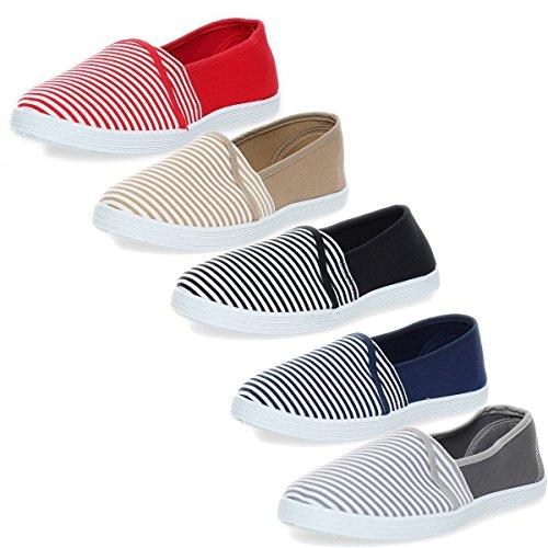 Bailarinas Señoras Mocasines Zapatos Verano Calzado Deportivo Rayas 15 W gris