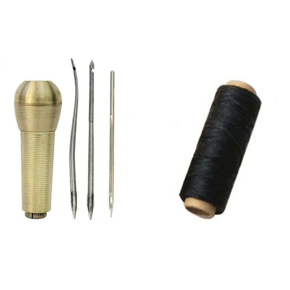 TILY Costura de Alforjas Para Toldos, Tiendas de Campaña, Velas de Lona, Costura y Reparaciones de Cuero + 50M 1mm Coser Hilo Encerado 150D (negro) TILYGO