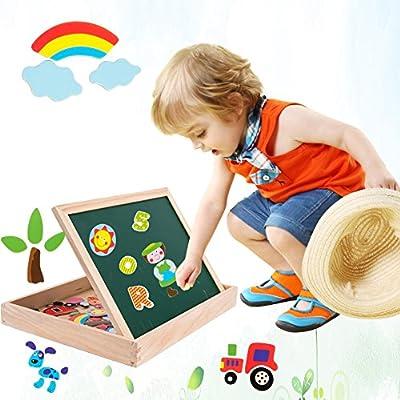 Uping Puzzle Magnetico Legno Giocattolo Di Legno Con Lavagna A Double Face Bambini 3 Anni 4 Anni 5 Anni 155 Pezzi
