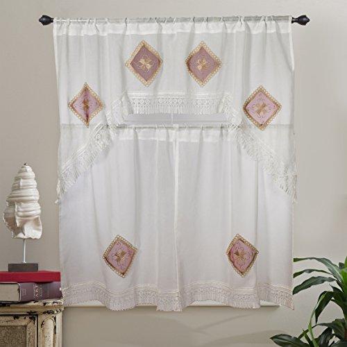 - Violet Linen Emerald Sheer Embroidered Design, 3 Piece Kitchen Curtain Set, Burgundy