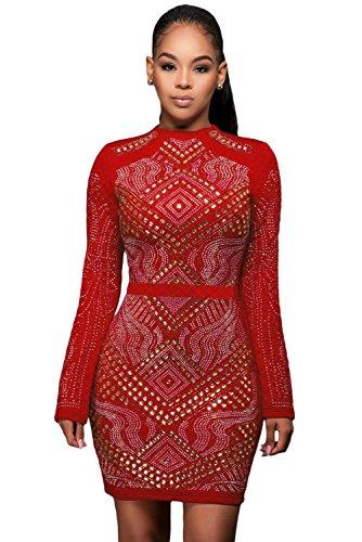 NEW femmes de rouge à paillette robe à manches longues Club Parti Porter Porter Taille M UK 10–12–EU 38–40