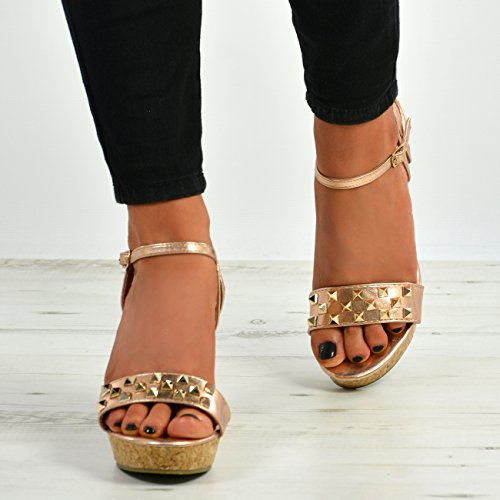 Cucu Fashion New Womens Ladies Cork Wedge Heel Ankle Strap Rock Studs Sandal Shoes Sizes UK Rose Gold 4pBLYJW