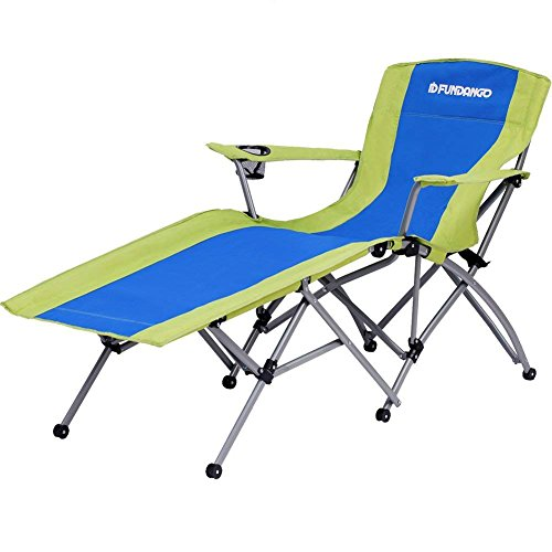 FUNDANGO Heavy Duty Outdoor Portable Folding Chaise Lounge Chair Lightweight Compact Reclining Camping Chairs with Cup Holder Armrest, Blue