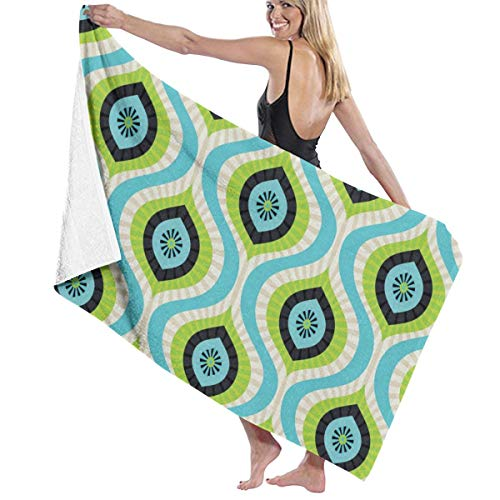 Amanda Billy Cotton Craft Super Soft Oversized Bath Towel Green Magic Striped Decoration Linen - Luxury Hotel Towel - Ideal for Everyday Use