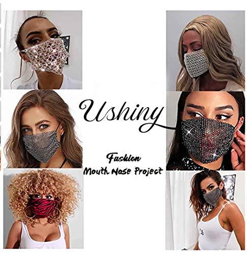 Ushiny – Maschera glitterata con cristalli scintillanti per feste in maschera, accessorio per costume di Halloween Mardi Gras per donne e ragazze (nero)