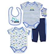 Buster Brown Baby Boys' 5-Piece Layette Set - Blue/Multi, 0-3 Months