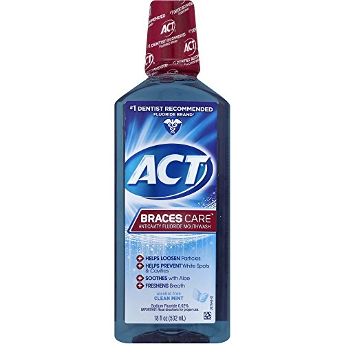 ACT Braces Care Anti-Cavity Fluoride Mouthwash, Clean Mint, 18 Ounce