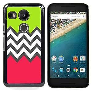 BullDog Case - FOR LG Google Nexus 5X - Green Pink White Pattern - Dise???¡¯???¡Ào para el caso de la cubierta de pl???¡¯????stico Chicas