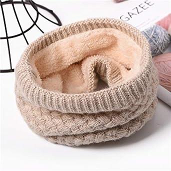 Tube Écharpe,Hiver Chaud bague Circle écharpe tricoté hiver épaisse boucle  laine infinity fourrure Écharpe 1f453f4a842