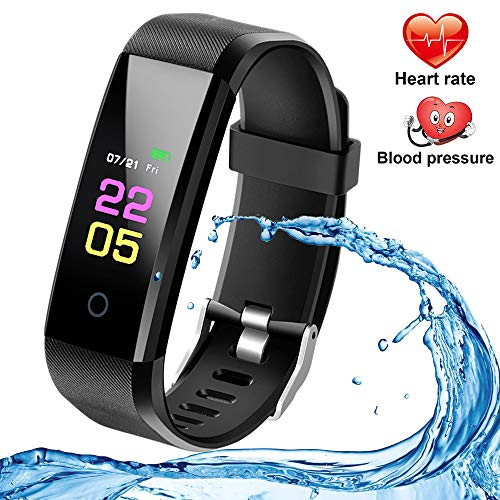 Fitness Tracker with Heart Rate Monitor, Activity Watch Blood Pressure Monitor, Waterproof Fitness Watch with Step Tracker Calorie Counter, Pedometer Watch for Kids Women Men Compatible Android iPhone