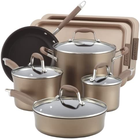 Anolon Advanced Bronze Collection Hard-Anodized Nonstick 9-Piece Cookware Set plus 2-Piece Bakeware Set