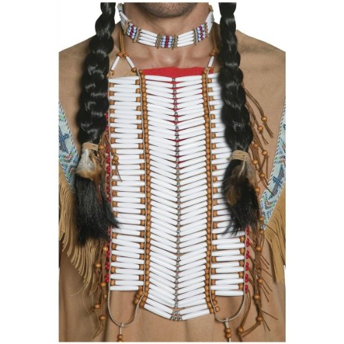 Indian Costumes Mens (Smiffy's Adult Unisex Native American Indian Breastplate, White, Beaded, One Size,)