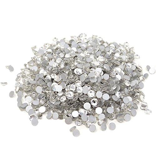 Honbay 1440PCS Sparkly Clear Crystal Flat Back Round Rhinestones (5mm,ss20)