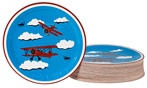 (Disposable Plates - 80-Count Paper Plates, Airplane Party Supplies for Appetizer, Lunch, Dinner, and Dessert, Kids Birthday Party Favors, 9 x 9 inches )