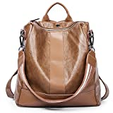 Women Backpack Purse PU Leather Covertible School Shoulder Bag Fashion Ladies Travel Bag brown