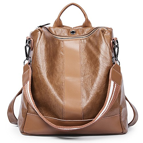 Women Backpack Purse PU Leather Covertible School Shoulder Bag Fashion Ladies Travel Bag brown by Romere
