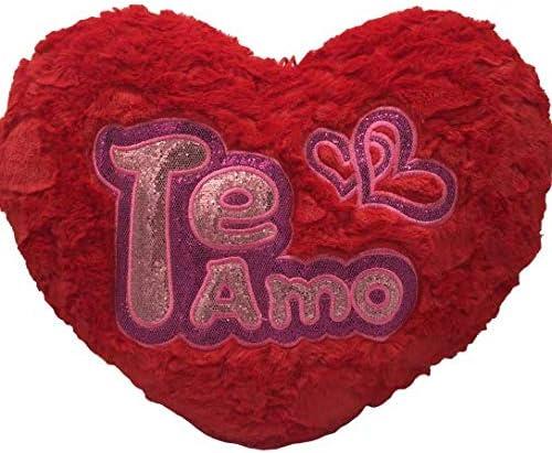 Cojín Corazón de Peluche con Frase de Amor TE Quiero con Purpurina, Color Rojo de 40x35cm