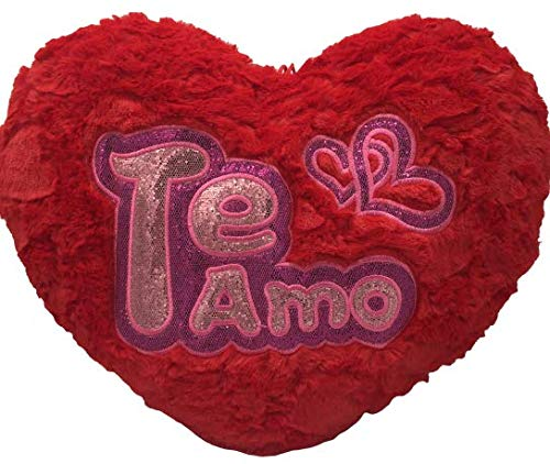 ML cojin Corazon de Peluche con Frase de Amor TE Quiero con Purpurina, Color Rojo de 40x35cm Color Rojo Purpurina