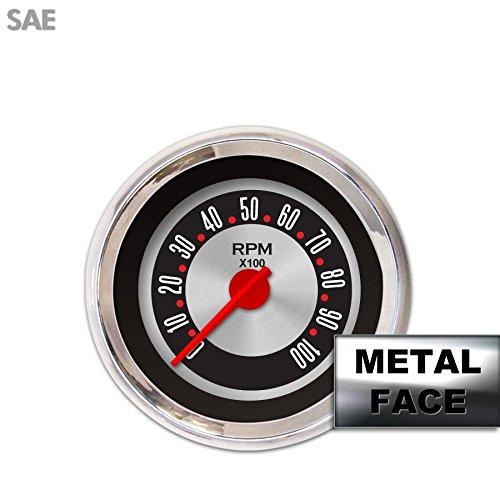 Gauge Face Set SAE Classic Retro Rodder Black IIII /& Needles Chrome Trim Rings