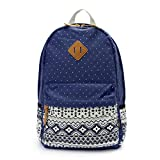 OURBAG Women Travel Canvas Dots Backpack Rucksack Shoulder Book Bag Satchel Navy Blue