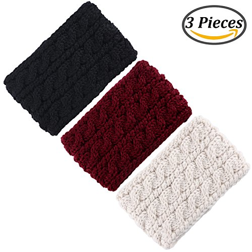 Coobey 3 Pieces Knitted Hairband Knit Head Band Crochet Headbands Twist Ear Warmer Winter Braided Head Wraps for Women Girls,3 Colors