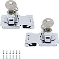 JaneYi (2 Pack) Metal Lock Hasp 65mm Door Bolt Latch Buckle with Padlock and Key - Chrome Plated Hardware for Locking…