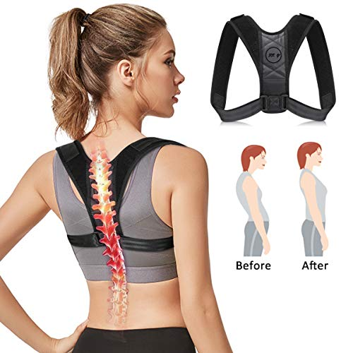 Posture Corrector & Back Brace for Men and Women, Adjustable Figure 8 Clavicle Support Posture Brace for Slouching & Hunching, The Ideal Solution for Neck Shoulder and Back Pain Relief (Black)