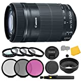 Canon EF-S 55-250mm f/4-5.6 IS STM Lens + 3 Piece Filter Set + 4 Piece Close Up Macro Filters + Lens Cleaning Pen + Pro Accessory Bundle - 55-250mm STM: Stepper Motor Lens - International Version