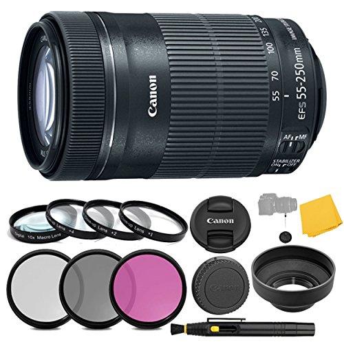 Canon EF-S 55-250mm f/4-5.6 IS STM Lens + 3 Piece Filter Set