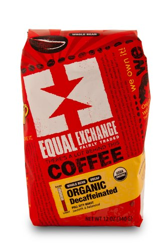 Equal Exchange Organic Coffee: Decaf, Whole Bean, 3 - 12 Ounce Bags 1 WHOLE BEAN ORGANIC DECAF FAIR TRADE SMALL FARMER GROWN