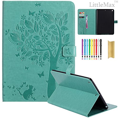 Green Card Bill - New iPad 9.7 2017 Case, LittleMax (TM) Synthetic Embossed Leather Lightweight Cover with Auto Wake/Sleep Shell for Apple iPad 9.7 Inch 2017 Release Model,[Free: 1 Stylus,1 Cleaning Cloth]-06 Green