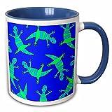 3dRose Janna Salak Designs Woodland Creatures - Cute Lizard Print Blue Green - 11oz Two-Tone Blue Mug (mug_28490_6)