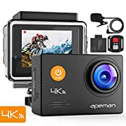 #LightningDeal APEMAN 4K Action Camera 16MP WiFi External Microphone Remote Control Underwater 40M Waterproof