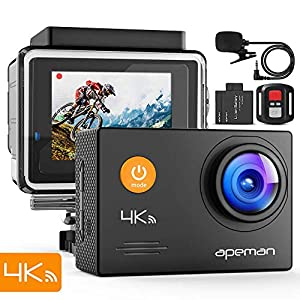 APEMAN Action Camera 4K 20MP WiFi Underwater 40M EIS Slow Motion Sports Waterproof Ski Cam with External Microphone and Remote Control