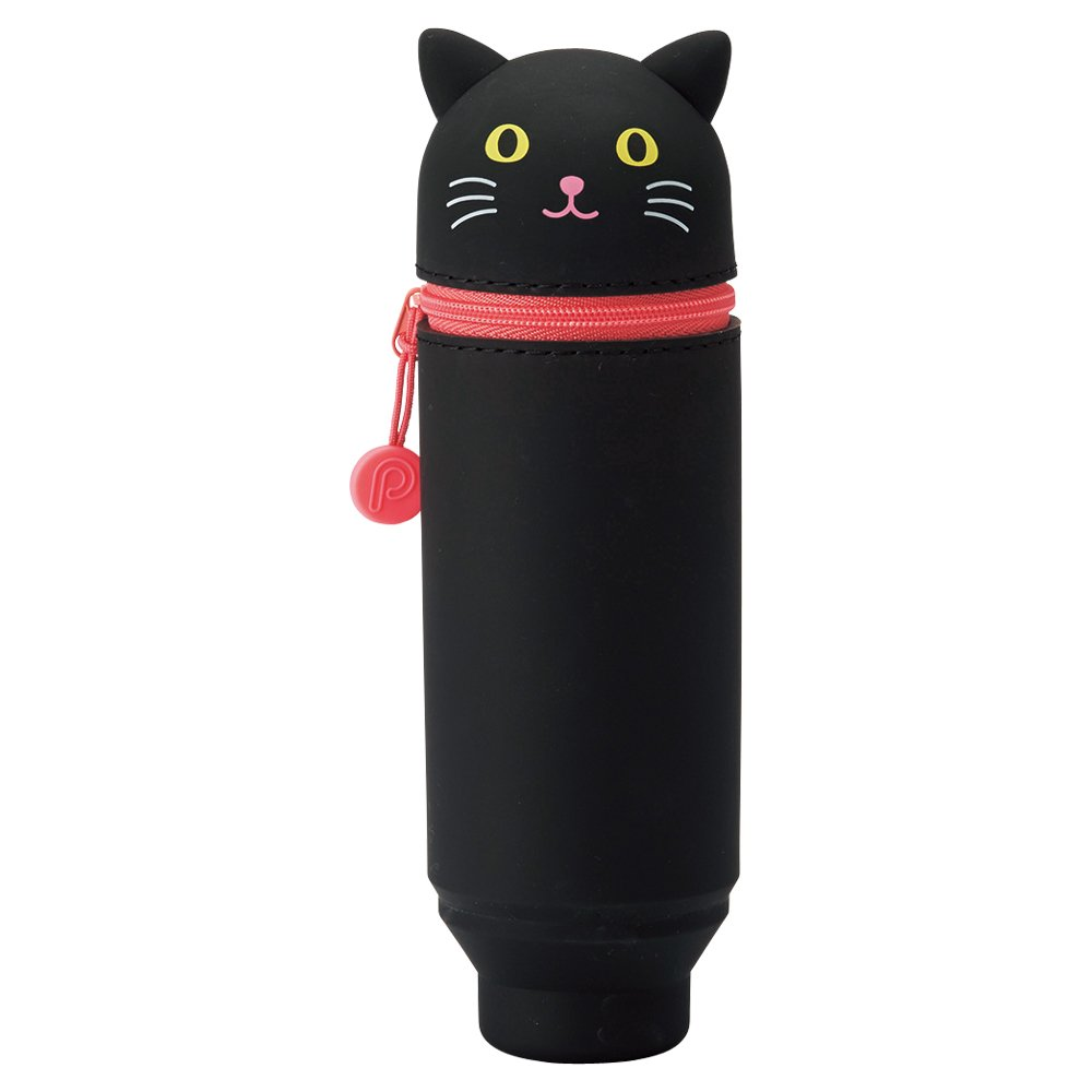 LIHIT LAB. PuniLabo Stand Up Pen Case (Pen Holder), Black Cat, 2.4'' x 7.8'' (A7712-3) by LIHITLAB