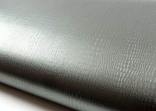 - ROSEROSA Peel and Stick Flame Retardation PVC Instant Leather Pattern Decorative Self-Adhesive Film Countertop Backsplash Lizard Dark Green Pearl (MF255(5131-3) : 1.98 Feet X 6.56 Feet)