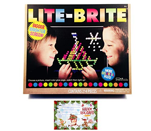 LITE Brite Magic Screen Toy Fun Retro Game | Premium Pack | 200+ Glow Pegs Brilliant Colors | Bigger Brighter Screen | Age 4 +| 6 Templates | 1 Art Guide | Bundle iPanda House Tag/Card