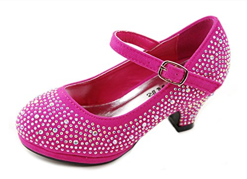 Dana-53k Little Girl Mid Heel Rhinestone Pretty Sandal Dress Shoes