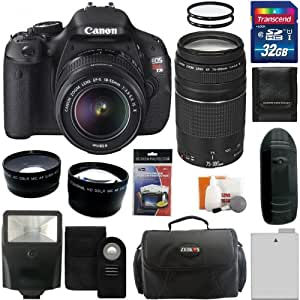 Canon EOS Rebel T3i Digital Camera SLR Kit With Canon EF-S 18-55mm IS II+Canon EF 75-300mm f/4.0-5.6 IIIAutofocus Lens + 32GB Card and Reader + Wide angle and Telephoto Lenses + Battery + Filters + Accessory Kit