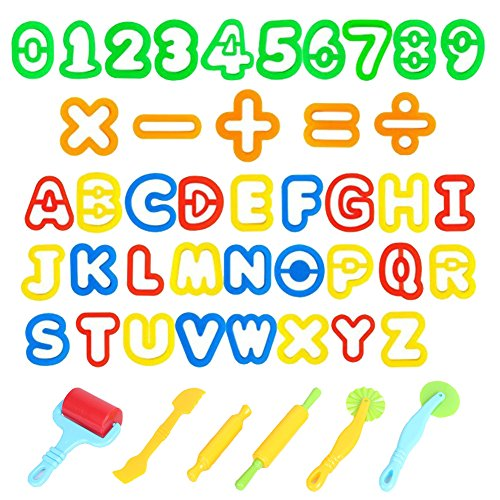 Oun Nana Dough Tools Play Doh Cutters for Kids, Various Shapes Include of Letters, Numbers, Symbols (47 PCS)